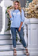 Женская рубашка из стрейч-коттона с кружевом 44-50 размера, фото 1