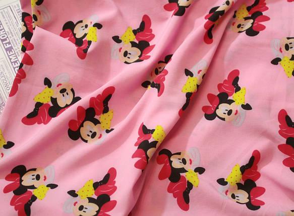 Ткань супер софт принт Микки на розовом, фото 2