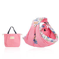 Слинг - карман + сумка для памперсов розовый