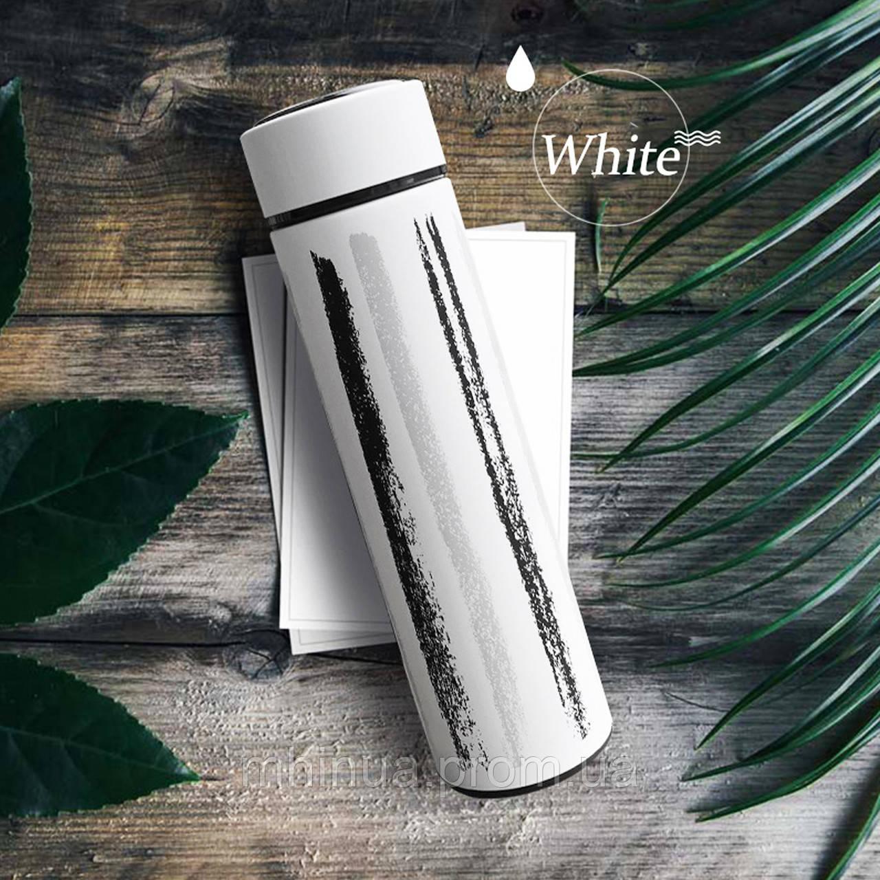 Термос 500мл Free and Easy Белый (вертикальные полоски) с ситечком