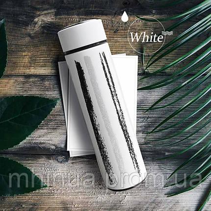 Термос 500мл Free and Easy Белый (вертикальные полоски) с ситечком , фото 2