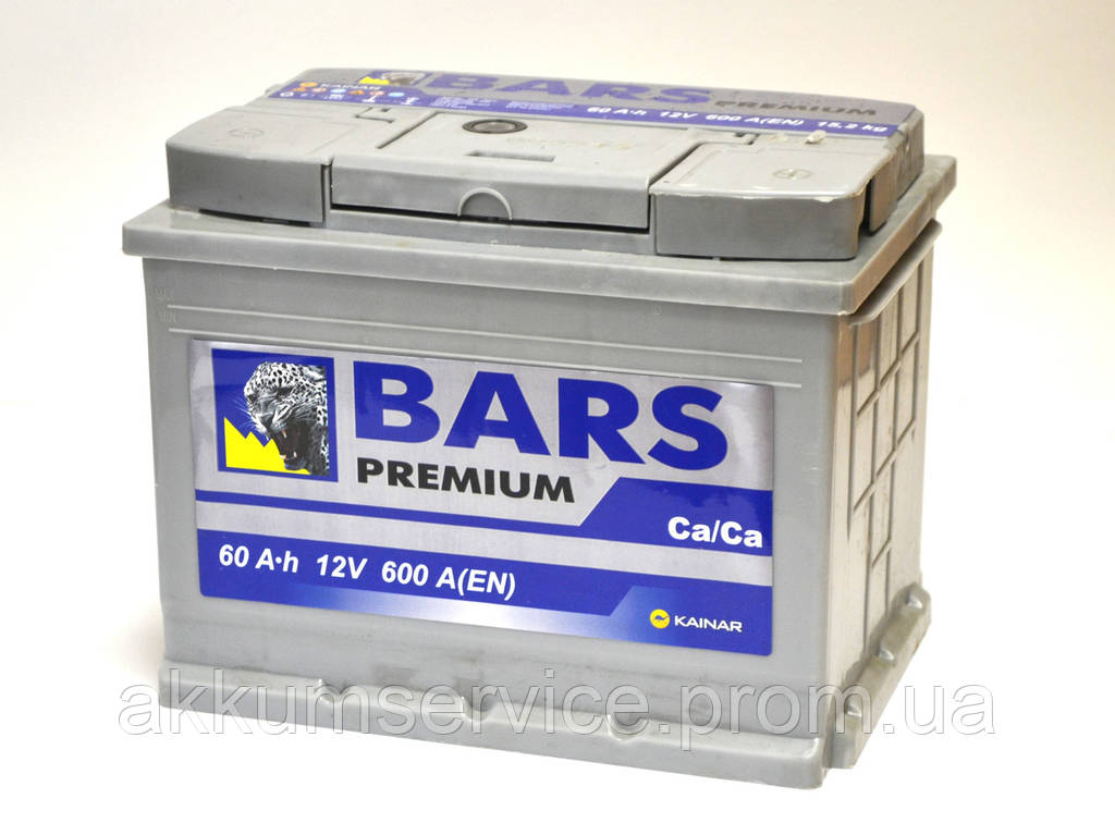 Аккумулятор автомобильный Bars Premium 60AH R+ 600A