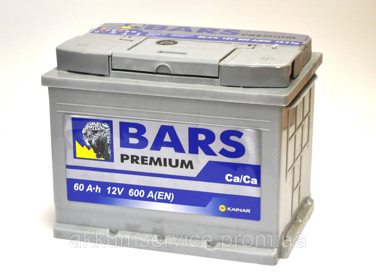 Аккумулятор автомобильный Bars Premium 60AH L+ 600A
