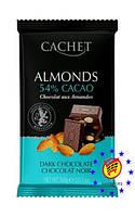 Шоколад  CACHET черный 54% какао с миндалем  300г