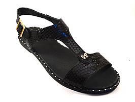 "Босоножки женские кожаные Butterfly Black Leather by Rosso Avangard цвет черный ""Инк"""