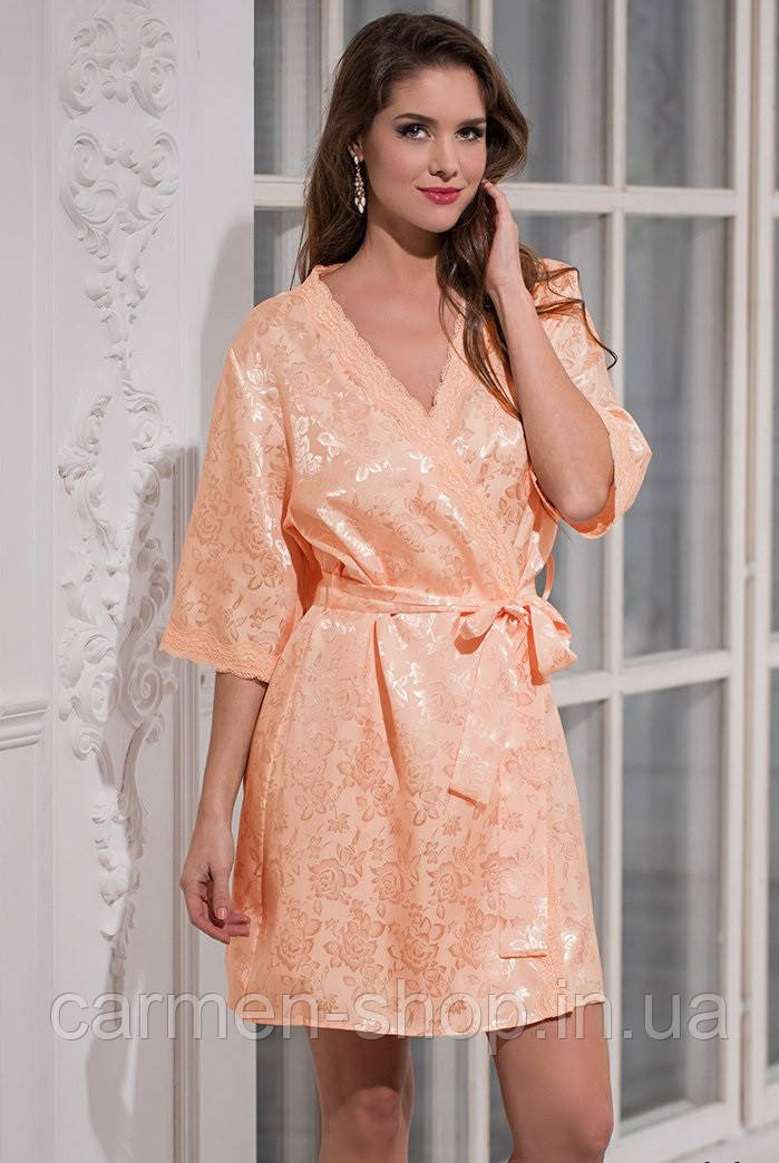 "Классический короткий халат-кимоно Mia-Mella ""Марго"" 7847 персик"