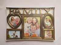 """Фоторамка, рамка для фото , фоторамка коллаж на 5 фото бронза и  белая """"Family"""" A-24 -1"""