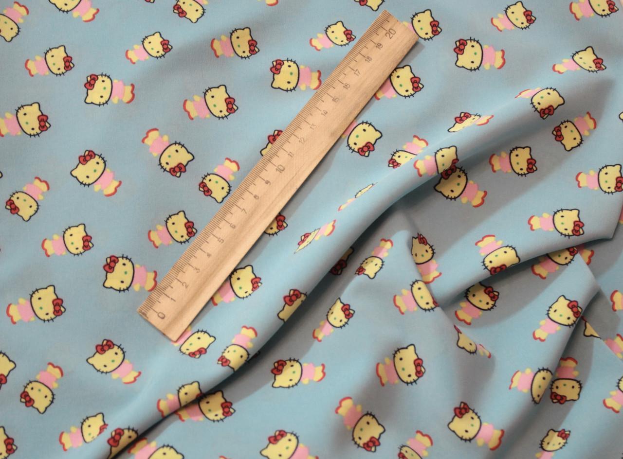 Ткань супер софт принт Китти на голубом