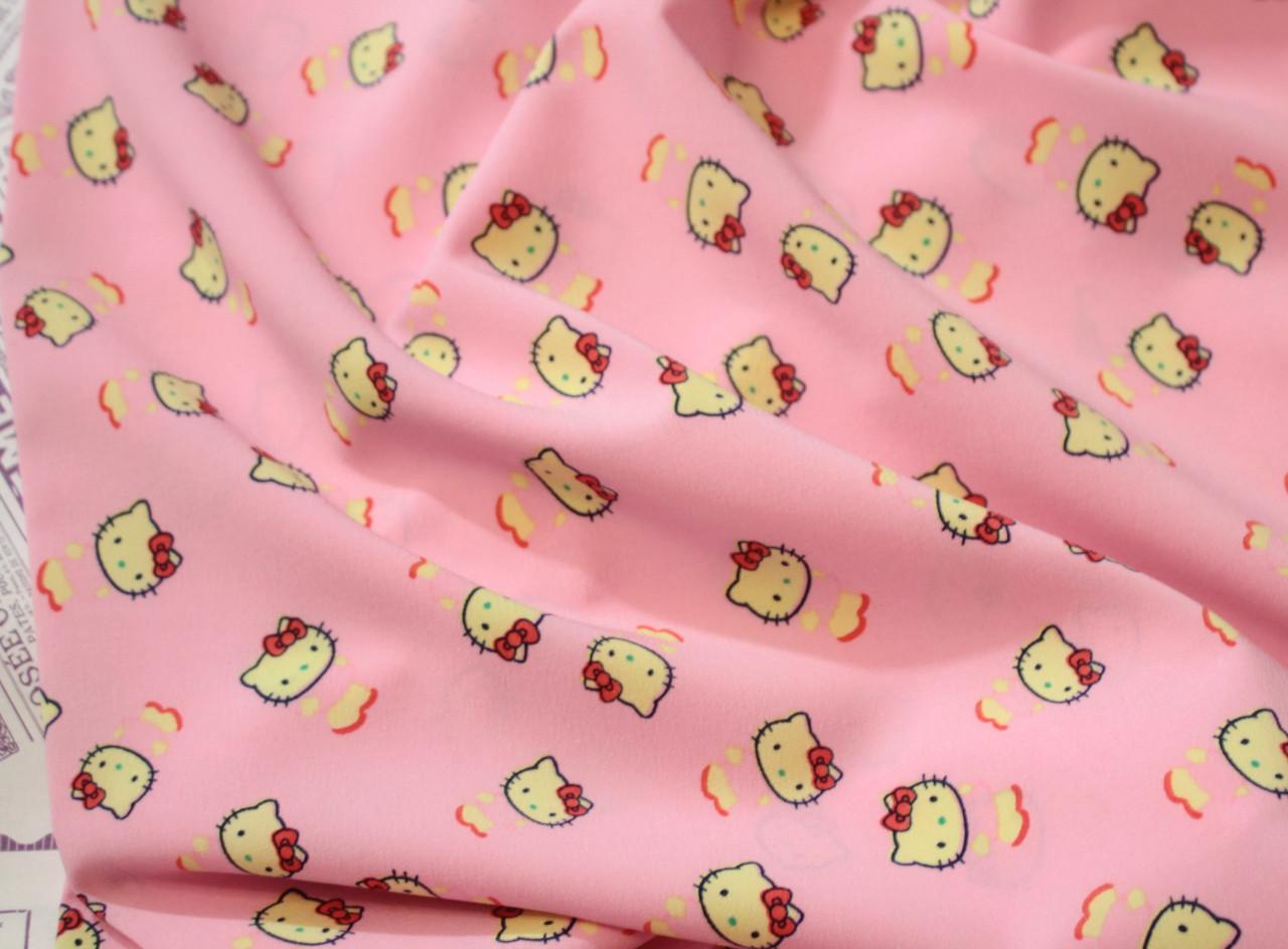 Ткань супер софт принт Китти на розовом