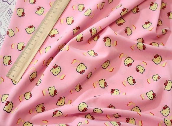 Ткань супер софт принт Китти на розовом, фото 2