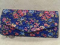 Клатч женский синий с цветочным узором.(Турция)