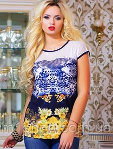 Женская туника-футболка из микромасла и сетки (0757-0756-9877 svt)