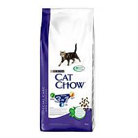 Cat Chow Feline 3 в 1 корм для кошек с индейкой (формула тройного действия), 15 кг