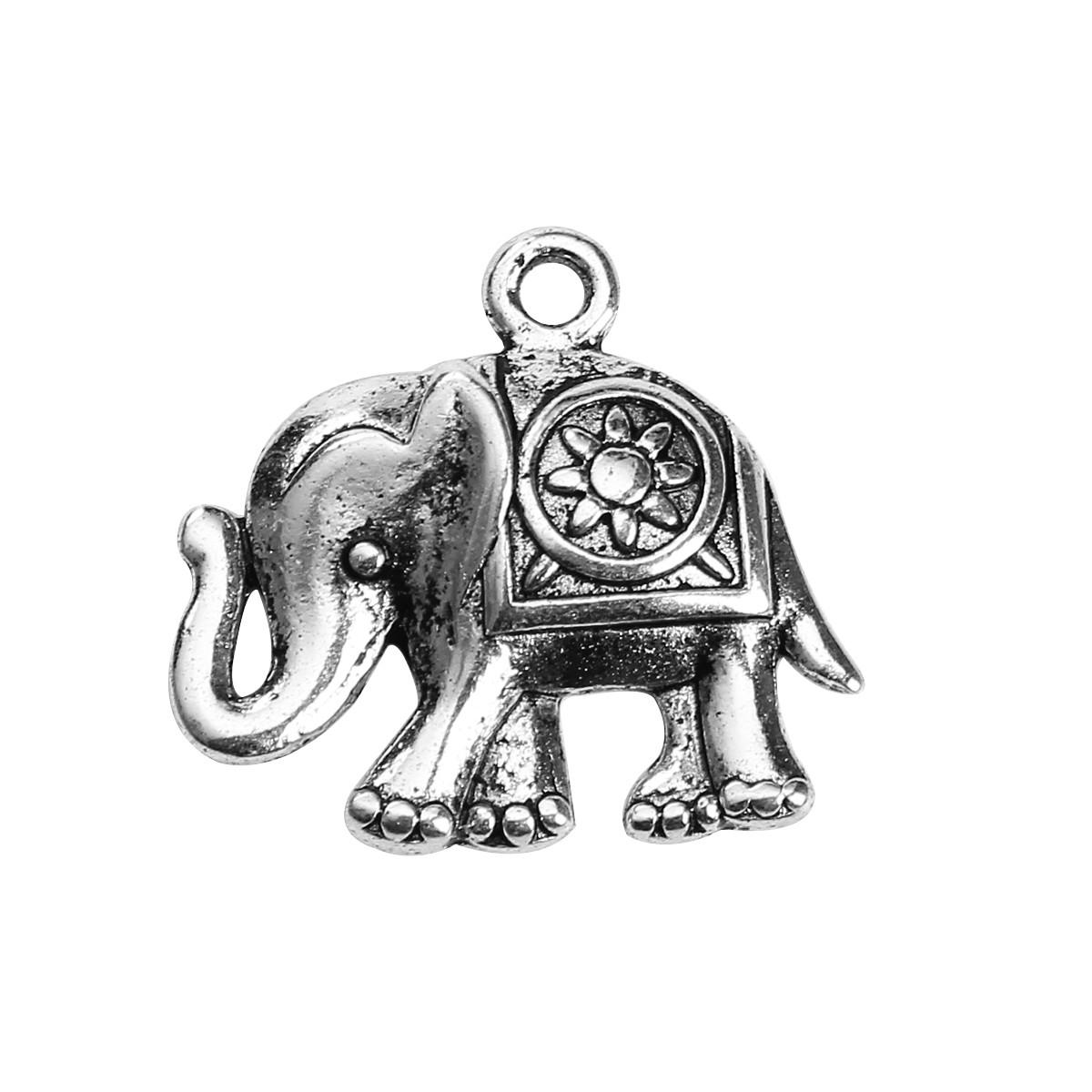 Подвеска, Цинковый сплав, Слон, Античное серебро, 24 мм x 22 мм