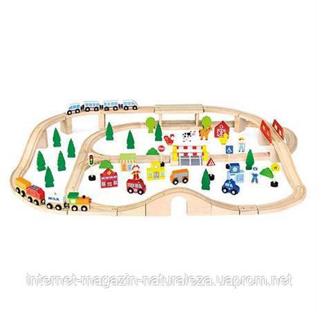 Детская железная дорога игрушка Viga Toys 90 деталей, фото 2
