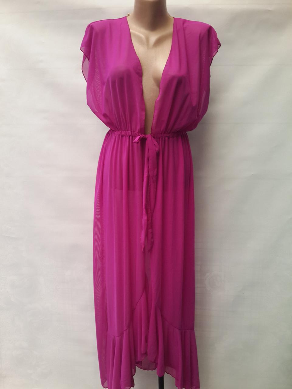 Длинный пляжный халат Синтия 5020 фиолетовый на размеры 44-54.