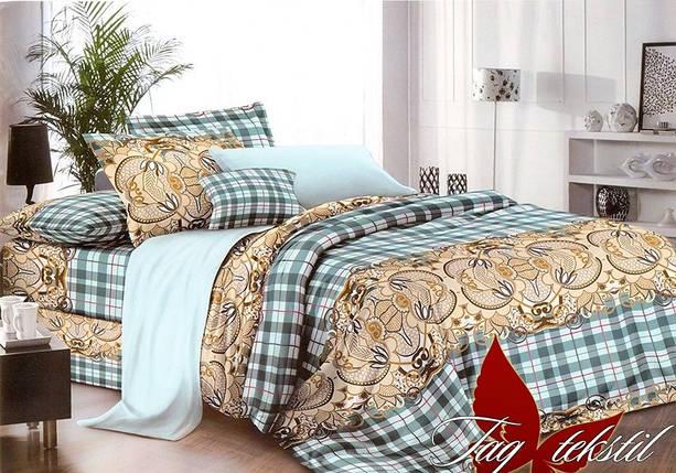 Полуторный комплект постельного белья в Клетку, Поликоттон, фото 2