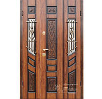 Входная металлическая бронированная дверь со стеклопакетом и ковкой