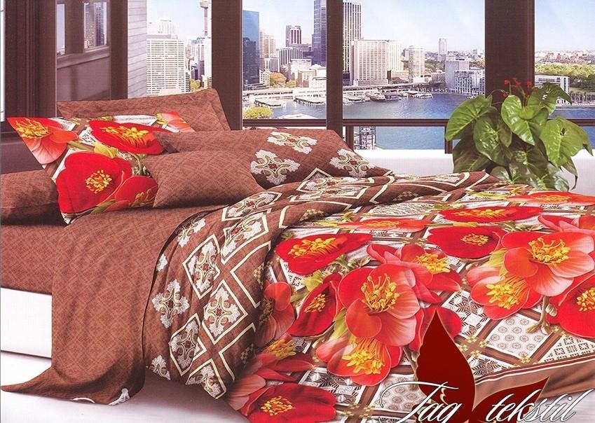 Полуторный комплект постельного белья с Цветами, Поликоттон