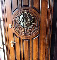 Входная металлическая бронированная дверь 179 со стеклопакетом и ковкой