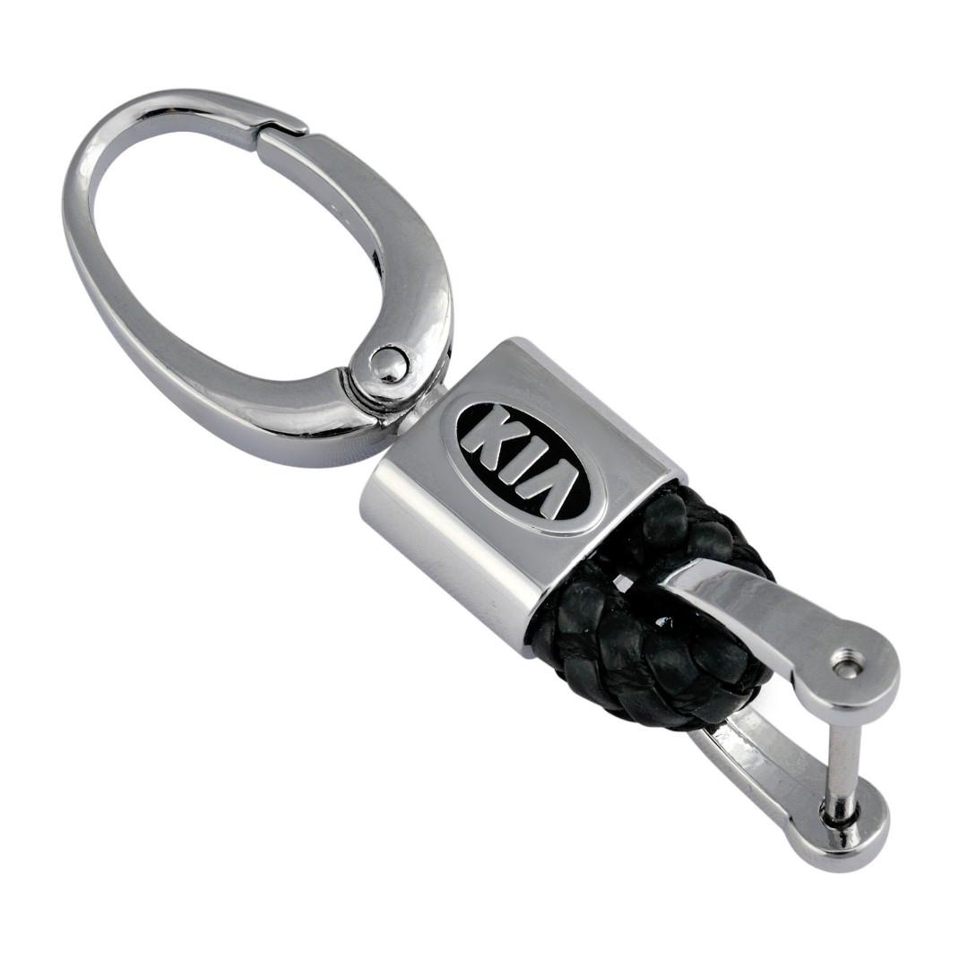 Кожаный брелок-карабин AZU с логотипом Kia