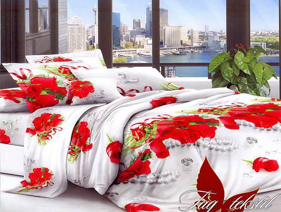Полуторный комплект постельного белья с Розами, Поликоттон, фото 2
