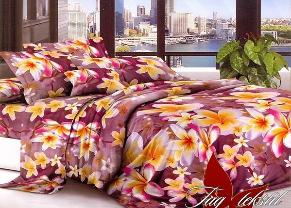 Полуторный комплект постельного белья с Цветами, Полисатин, фото 2