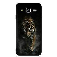 Чехол Print для Samsung J5 2015 / J500H / J500 / J500F силиконовый бампер с рисунком Tiger black