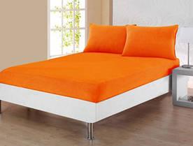 Простынь махровая на резинке Lotus - Оранжевая 160*200