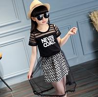 Платье для девочкилетнее от 6 до 10 лет (черное) код 16331