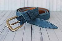 Замшевый женский ремень пояс светло синий 2 см
