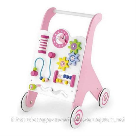 Ходунки - каталка рожеві Viga Toys, фото 2