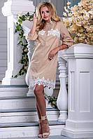 Літнє плаття-сорочка з стрейч-котону з мереживом 42-48 розміру, фото 1