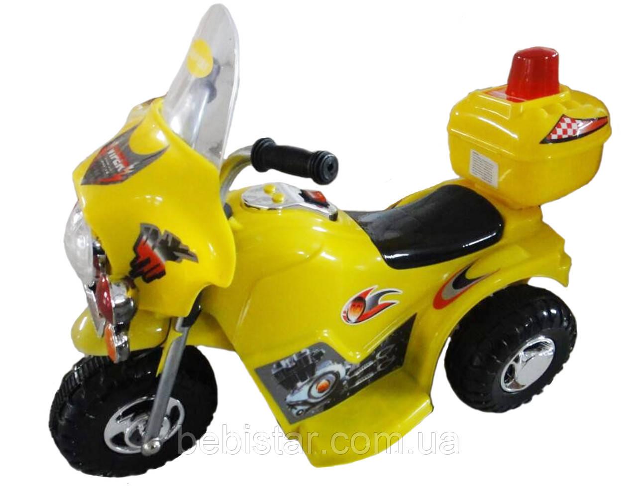 Дитячий електромобіль-мотоцикл Т-723 жовтий дітям 3-5 років