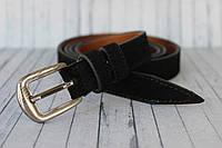 Кожаный замшевый женский ремень черный 2 см