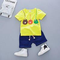 Летний костюм для мальчика Игрушки футболка и шорты желтый