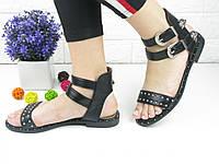 Женские стильные черные босоножки Viola