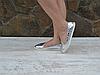 Туфельки балетки серебряные сталь на белой подошве сейловая цена Хит