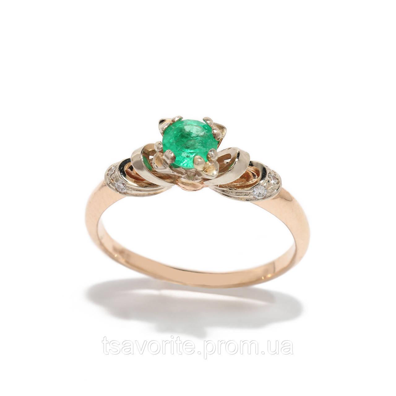 Золотое кольцо с изумрудом и бриллиантами 2231535