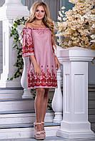 Коттоновое платье свободного кроя с вышивкой спадающее с плеч 42-48 размера, фото 1