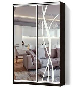 Шкаф-купе Стандарт двухдверный фасады зеркало+зеркало с пескоструйным рисунком