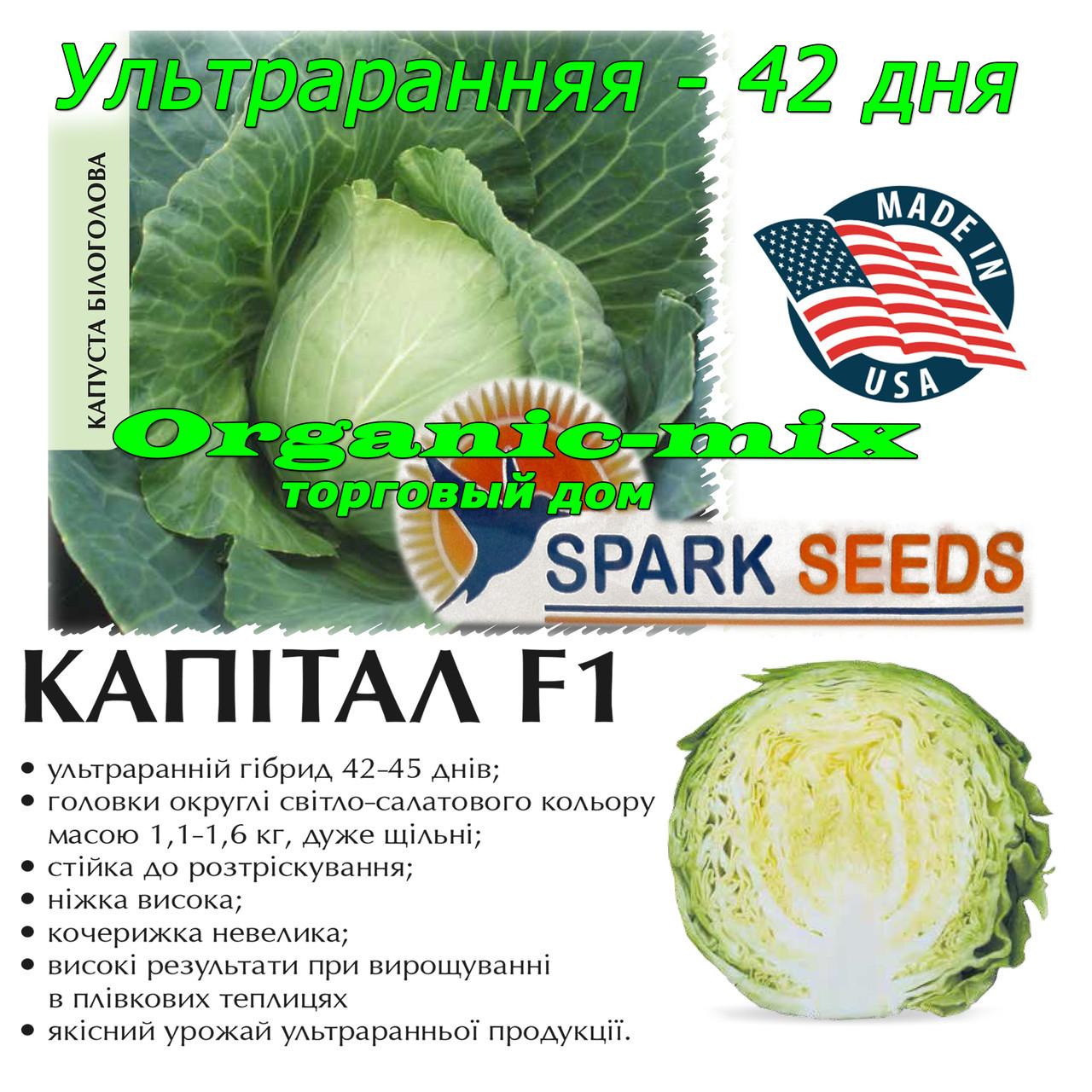 Капуста ранняя Капитал F1 (Lark seeds, США), проф.пакет 1000 семян