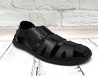 Босоножки мужские натуральные кожаные черные UK0269