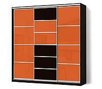 Шкаф-купе Стандарт трехдверный с фасадами комбинированными (цветное стекло+зеркало тонированное)