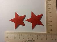 Клеевая фетровая аппликация красная звезда
