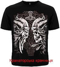 Футболка Викинг с черепом (Viking with skull) черная. размер L