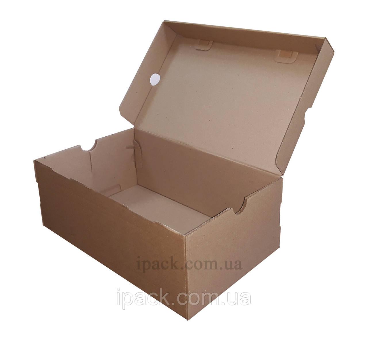 Коробка для обуви, бурая, 330*250*170 мм, микрогофрокартон, крафт, обувная коробка