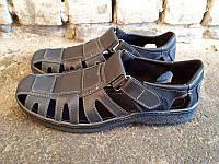 Босоножки/сандалии мужские большие размеры кожаные черные Uk0026