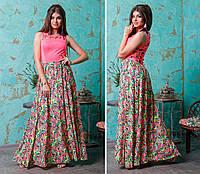 """Длинное комбинированное платье """"KRONA"""" с перфорацией (2 цвета)"""