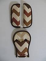 Накладки на ремни безопасности зигзаг коричневый
